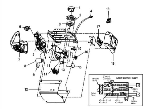 Model 3245 3255 Chain Drive Opener Motorhead Parts Diagram