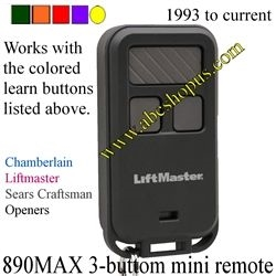 890max 3 Button Mini Keyfob Remote Control